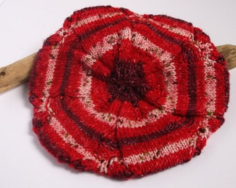Hand knitted self patterning red Tam / Beret. Adult women or teenager