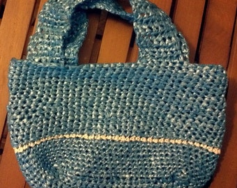 Crochet Plarn Purse Blue - Repurposed Plastic - 2 Handles - Lined