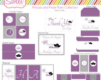 Printable DIY  Princess and Pirate Party Package