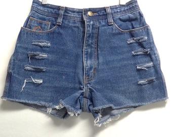 70's Jordache High Waisted cut Off denim Shorts Waist 25 inches