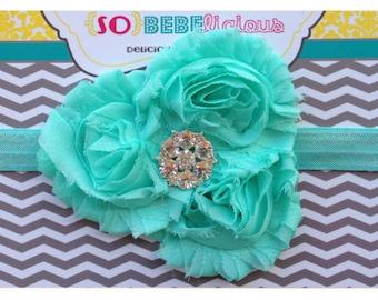 SALE Seafoam Aqua Triple Flower Rhinestone Headband Baby Girl Shabby Chiffon newborn 0-5 months 5-12 12-18 toddler girl blue sea green