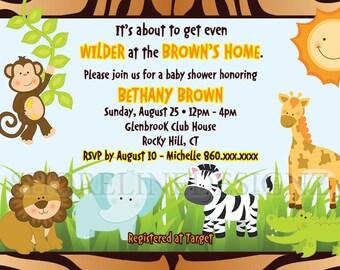 Custom,printable safari theme baby shower invitation I CREATE YOU PRINT, personalized