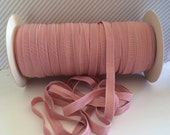 "Dusty Rose Pink FOE 3/8"" inch Wild Rose #149 Fold Over Elastic Solid shiny FOE 5 or 10 yards DIY Headbands Hair Ties Satin Soft Elastic trim"