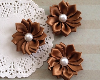 """6 Small light Brown Fabric Flowers - 1.5 """" Satin ribbon flowers with pearl centers  flat back - Sweetheart accent flowers"""
