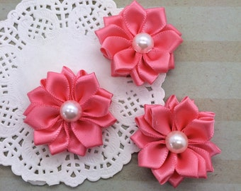 "6 Small Coral Pink Fabric Flowers 1.5"" Satin ribbon flowers with pearl centers embellishment Sweetheart accent flowers applique flowers"