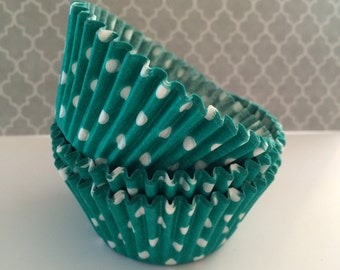 Teal Green Cupcake liners -  Jade Green polka dot cupcake liners  baking cups  muffin cups  standard size grease proof cupcake wrappers