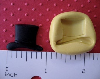 TOP HAT MOLD snowman hat lephrechaun hat silicone flexible for polymer clay new years eve fondant resin wax groom wedding mold cupcake cake