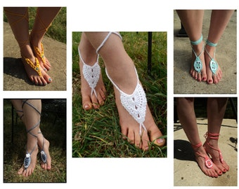 Special Offer -  4 Crochet PATTERNS plus bonus Pattern - Barefoot Sandals Collection