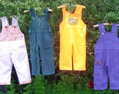 Childrens kids toddler dungarees overalls Osh Kosh style  pink flowered  or yellow cotton age 18 months 3 years
