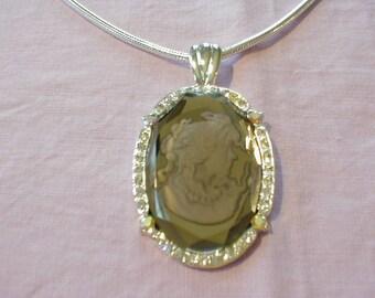 vintage crystal intaglio necklace smokey grey intaglio glass ab clear crystals silver snake chain