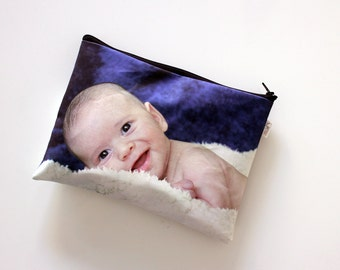Personalized Baby diaper bag, Custom gift for parents, Zipper pouch with photo of the baby, boy or girl