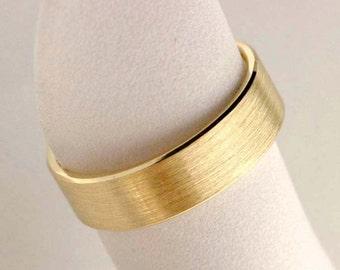 Classic wedding band, flat wedding band, men's yellow gold wedding band, 14k yellow gold, flat, comfort fit - Classic No.6