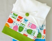 Kitchen towels with owl green, blue, pink cotton fabric accent - set of two flour sack towels