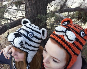 Custom made to order TIGER hat - Newborn to Adult - Many color options
