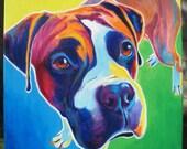 Boxer, Pet Portrait, DawgArt, Dog Art, Boxer Art, Original Painting, Pet Portrait Art, Colorful Dog Art, Boxer Painting