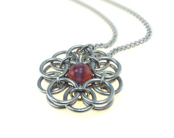 Celtic Knot Necklace Handmade In Chainmaille And Purple Glass