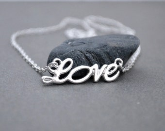 Cyber Monday sale Black Friday sale Silver love necklace holiday gift for wife silver charm necklace sale gift under 10 dollar affordable