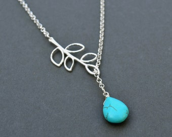Lucky tree Turquoise beads Necklace, Charm Necklace Bridesmaid gifts, Beadwork Necklaces,bib necklaces Mother's Day Necklace Branch Necklace