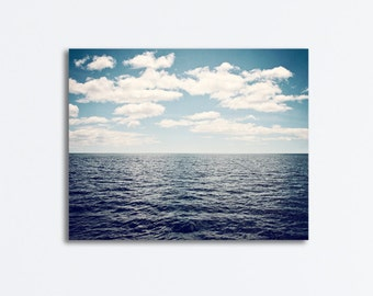 "Blue Ocean Canvas - dark seascape photography gallery wrap sea landscape beach horizon nautical wall art print, ""What Lies Over the Horizon"""