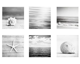 Beach Black and White Print Set - grey coastal gray ocean nautical photography seashore neutral wall art grouping light pale modern seaside