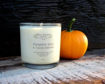 Organic Candle SPICED PUMPKIN & Vanilla BOURBON Coconut Wax Massage Candles Essential Oils 10 oz
