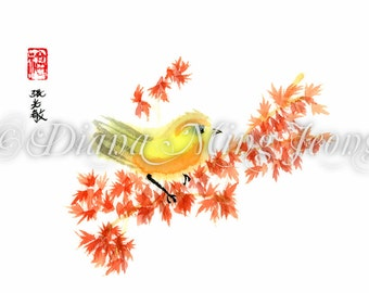 "Watercolor Chinese Brush Painting Card ""Japanese Red Maple and Yellow Song Bird"""