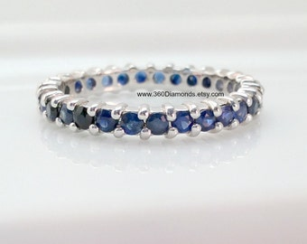 Natural blue sapphire eternity ring, atlantis cerulean sapphire band, eternity band, infinity ring, blue sapphire, wedding band, D320B