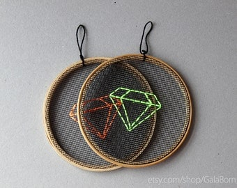 "Neon green and orange diamonds, set of 2 hoops - Embroidery in wooden hoop 5"" - Minimalist - Geometric"