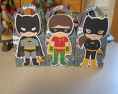 Batman, Robin and Batgirl Inspired Gable Favor Boxes Set of 12