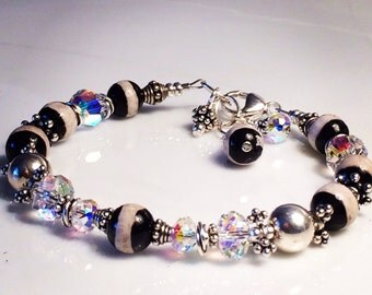 Holiday Special! FREE U.S SHIPPING Black and White Striped Agate with Swarovsi and sterling Silver Bracelet