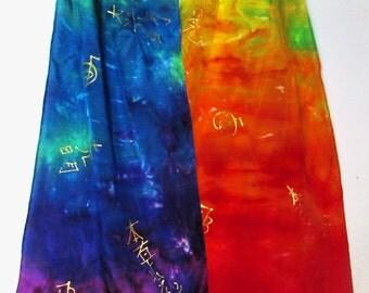 Rainbow reiki Silk scarf,spiritual gift, rainbow scarf, reiki scarf, prayer scarf, metaphysical, spiritual gift,shamanic, goddess, pagan