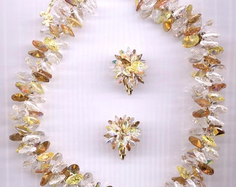 Wow - gorgeous vintage Vendome necklace and earring set - topaz jonquil, and clear Swarovski rivoli crystals