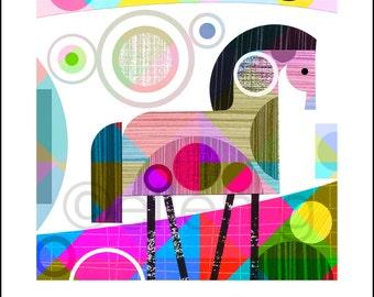 kaleidoscope, mid century, horse, print