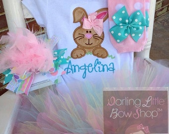 Baby Girl Easter Tutu Outfit - Hippity Hop Over the Top -- Bunny bodysuit, leg warmers, tutu and Over The Top bow -- pastel aqua, pink, mint
