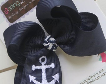 Anchor Bow -- Navy Blue Hairbow with embroidered anchor -- Nautical Navy and White - Headband Option