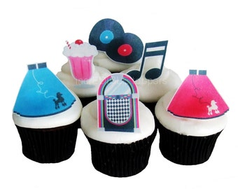 50s THEME PARTY - 12 Edible Cupcake Toppers - Birthday Party Decorations - Cake Topper - DIY Party Decorations