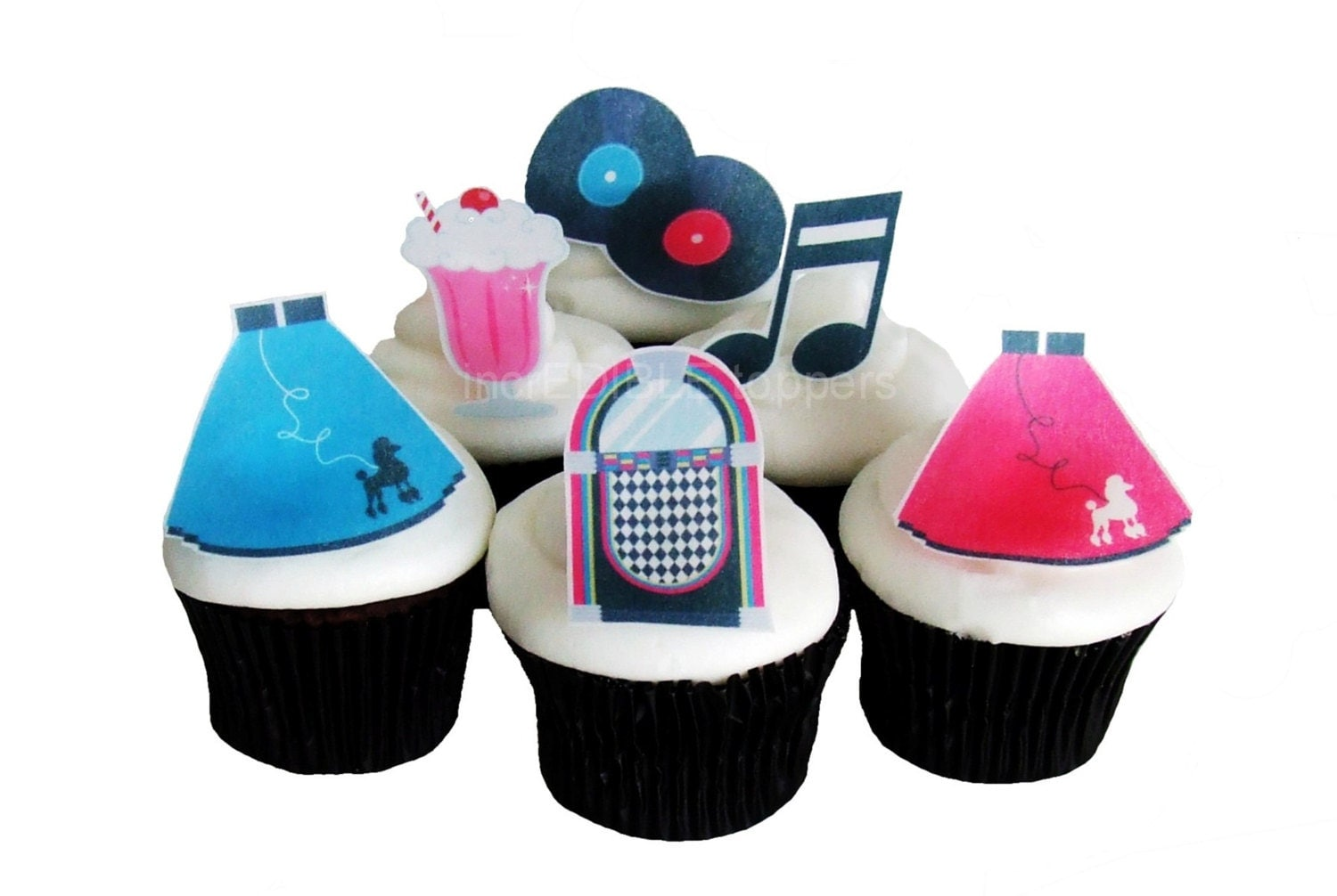 50s THEME PARTY 12 Edible Cupcake Toppers Birthday Party