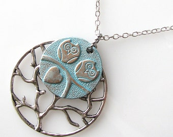 valentines day gift, family tree necklace, wife gift birthday, sister gift owl necklace, long necklace, tree of life, romantic jewelry