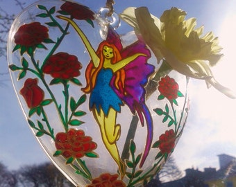 "Heart Glass ""Rose Fairy"", Wedding Gift, Glass Painting, hanging Vase, Decoration, Valentines Day, Costum Order"