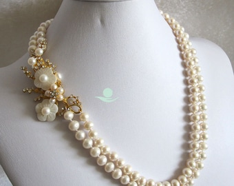 Pearl Necklace -20-21 Inches 8-9mm White 2Row Freshwater Pearl Necklace Jewelry - Free shipping