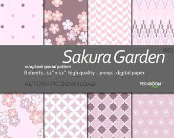 pale pink and cream modern digital scrapbook paper with geometric patterns Sakura Garden, Scrapbook Quality Paper Pack, Small commercial use