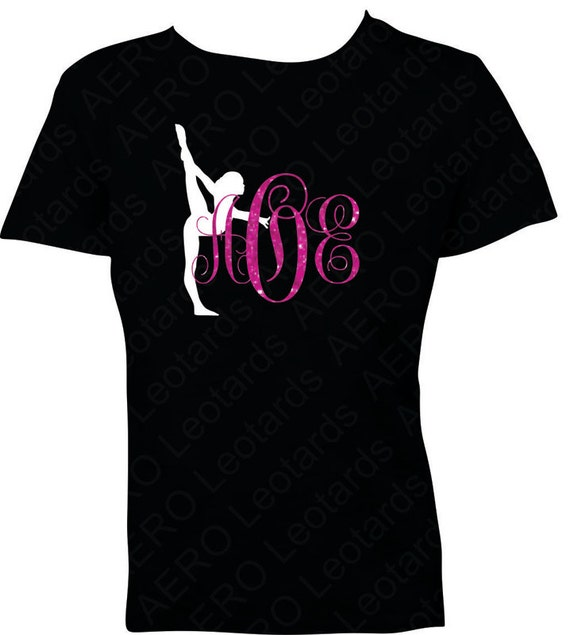 Gymnastics personalized custom glitter monogram by for Initials on dress shirts