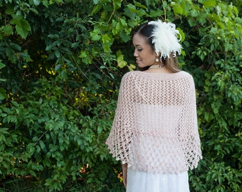 Pink Bridal Shawl - Pink Wedding Shawl - Pink Wedding Shrug - Pink Mohair Knitting Shawl - Pink Knitting Capelet