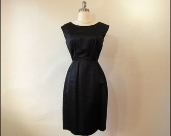 SALE-Coupon Code 1950's-1960's DYNASTY Black Silk Beaded Wiggle Dress