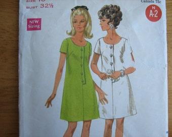 Vintage Butterick Pattern 4874 Misses' One-Piece Dress   1960's