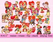Digital Clipart, instant download, Vintage Valentines, cowboy cowgirl horse cow burro boots lasso guitar kitten puppy  25 PNG files  1411