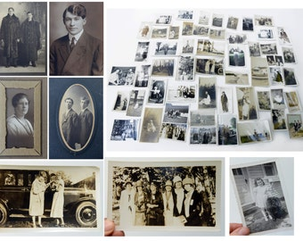 paper ephemera, set of vintage photos,60+,early 1900s through the 1950s, black and white, sepia,matted and loose, really charming imagery