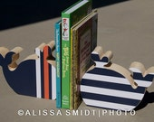 Custom Designed Wooden Whale Bookends - Custom Created to Coordinate with Nursery Letters - navy, white, orange, whale, nautical