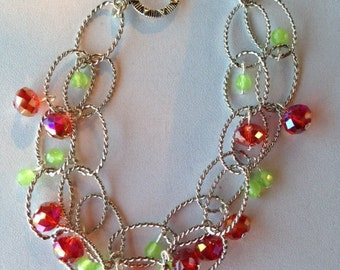 Peridot and Swarovski Crystal Bracelet