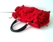 Cyber Monday Sale-Handmade Red  Knit Bag, Celebrity Style,Crochet winter  bag-Nr:201-Gifts for mom,teacher gift